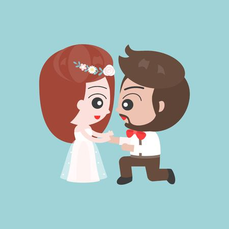 Kneeling Groom and bride  asking marriage, cute character for use as wedding invitation card or backdrop. Illustration