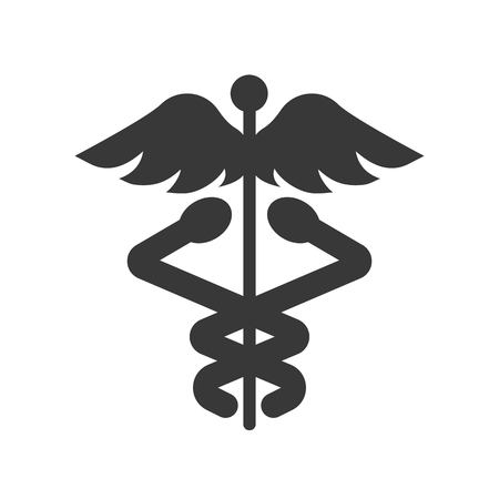 caduceus a symbolic represents  Hermes, use in astrology, alchemy, and astronomy, glyph icon. Ilustração