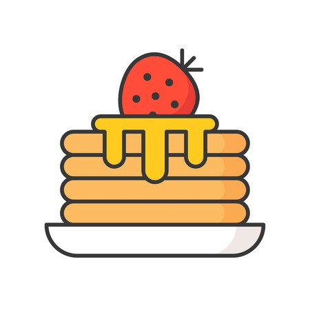 stack of pancakes with syrup, sweets and pastry set, filled outline icon.