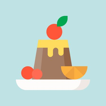 chocolate pudding with fruits, sweets and pastry set, flat design icon. Çizim