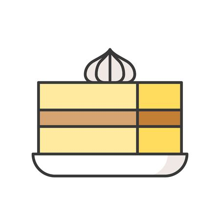 slice of cake, sweets and pastry set, filled outline icon.