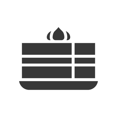 cake with cream, bakery and pastry set, glyph icon.