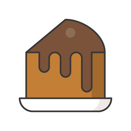 slice of chocolate fudge cake, sweets and pastry set, filled outline icon. Ilustrace