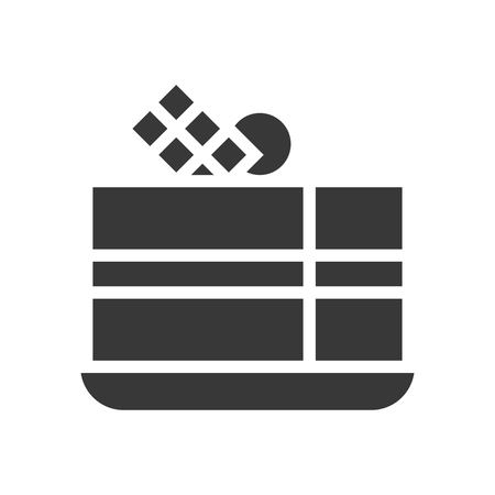 chocolate layer cake, bakery and pastry set, glyph icon.