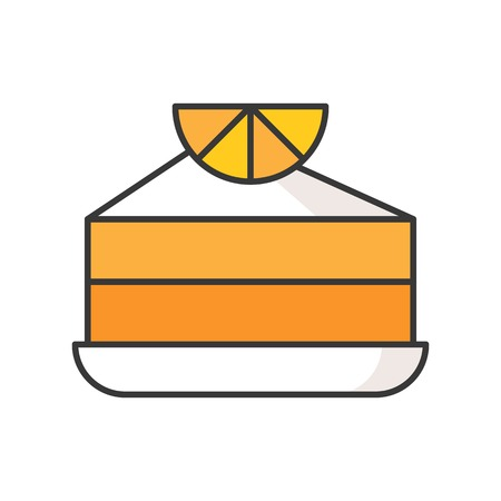 slice of orange cake, sweets and pastry set, filled outline icon.