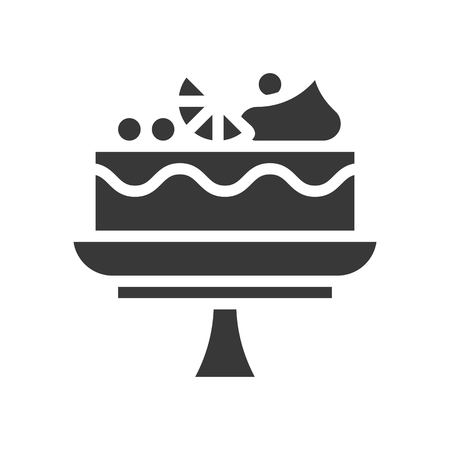 fruit cake on cake stand, bakery and pastry set, glyph icon.