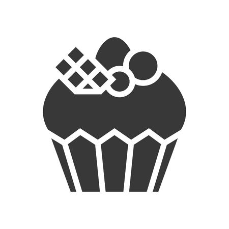fancy Cupcake or muffin logo, bakery and pastry set, glyph icon. 免版税图像 - 111393792