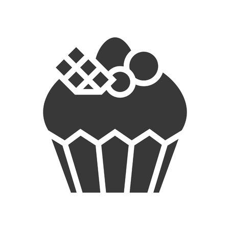 Magdalena de lujo o logotipo de muffin, conjunto de panadería y pastelería, icono de glifo. Logos