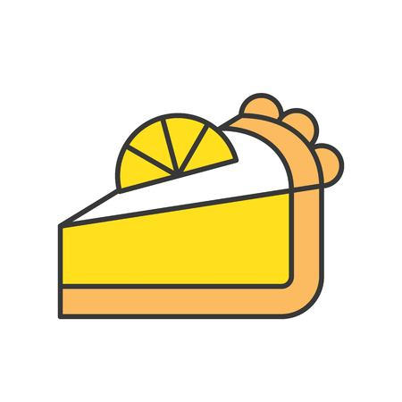 slice of lemon pie, sweets and pastry set, filled outline icon. Ilustrace