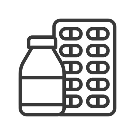 syrup bottle and capsule, pharmaceutical related outline icon. Иллюстрация