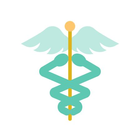 caduceus a symbolic represents  Hermes, use in astrology, alchemy, and astronomy,flat icon. Illustration