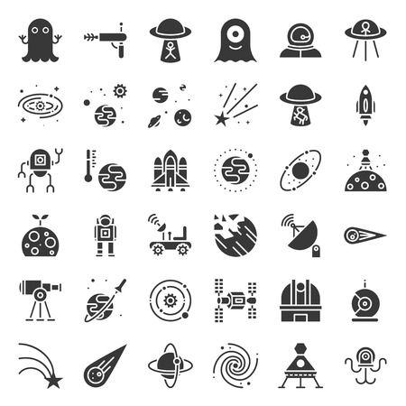 space exploration vector icon set, glyph design. Vettoriali
