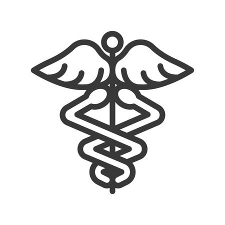 caduceus a symbolic represents  Hermes, use in astrology, alchemy, and astronomy, outline icon.