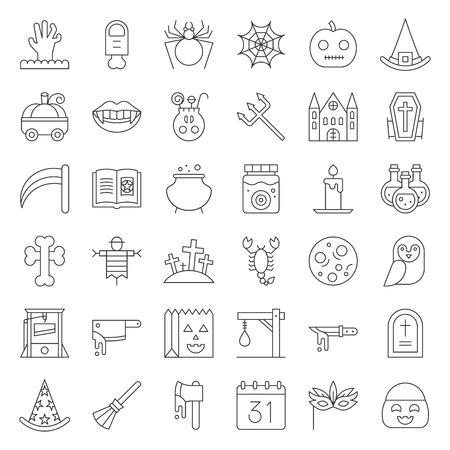 Elementos de conjunto de iconos de Halloween, diseño de línea fina.