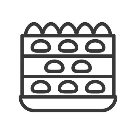 strawberry layer cake, sweets and dessert outline icon.