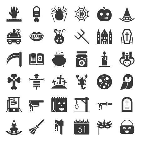 Halloween vector icon set element, glyph design.