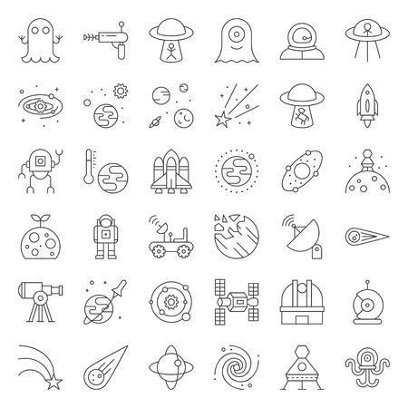 jeu d'icônes vectorielles d'exploration spatiale, conception de contour.