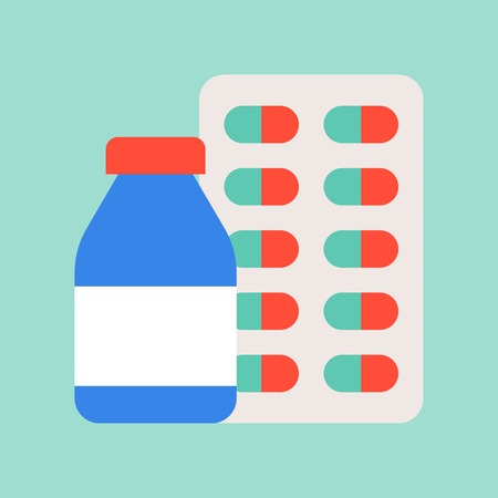 bottle syrup and capsule, medical and hospital related flat design icon set.