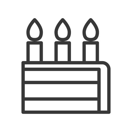 slice of birthday cake, sweets and dessert outline icon. Illustration