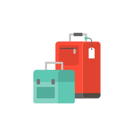 luggage bag icon, flat design vector illustration. Illustration