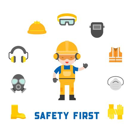 industrial security and protective equipment for worker illustration, flat design.