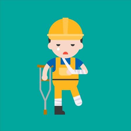 industrial security concept for worker illustration, flat design. Stock Illustratie