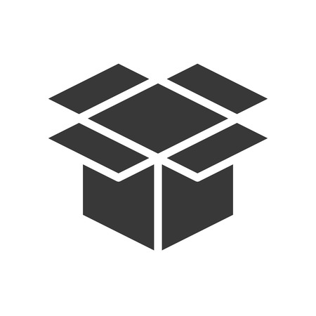 empty open box, shipping and delivery concept set, glyph icon.