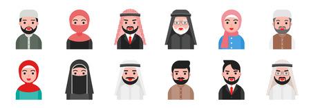 cute avatar Arab Muslim people in flat design.