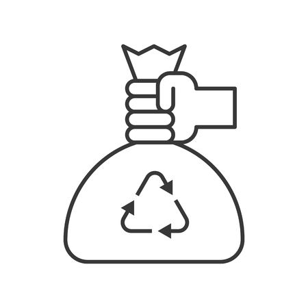 hand pick recycle garbage bag, cleaning service related, outline icon.