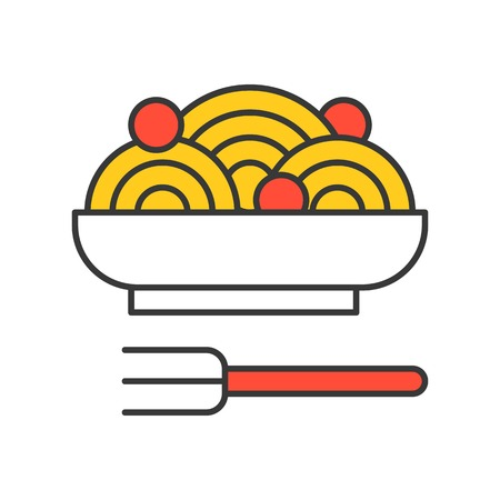 spaghetti and meatballs, Food set, filled outline icon. Banque d'images - 111709254