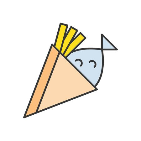 fish and chips, food and gastronomy set, filled outline icon.