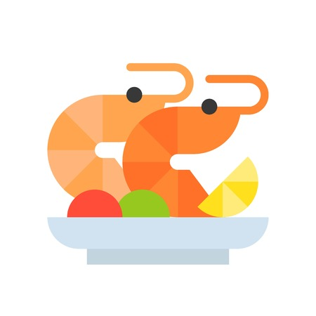 shrimp salad or prawn cocktail, seafood, food and gastronomy set, flat icon. Vectores