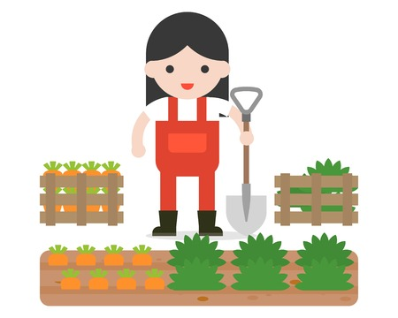 farmer or gardening and carrot crate in flat design. Banque d'images - 111592592