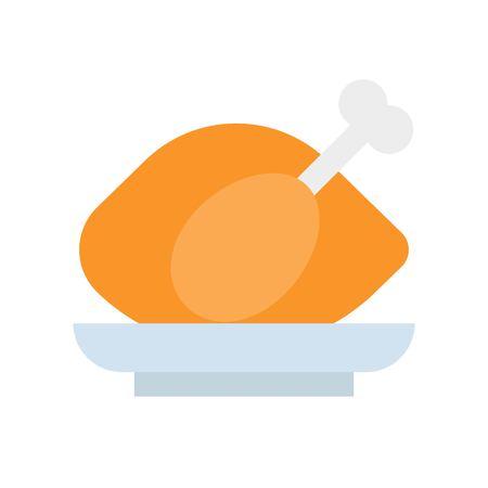 roast chicken, flat vector icon gastronomy set.