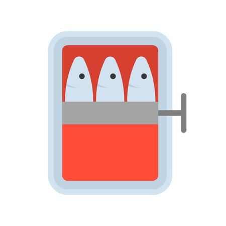 canned fish, food and gastronomy set, flat icon.