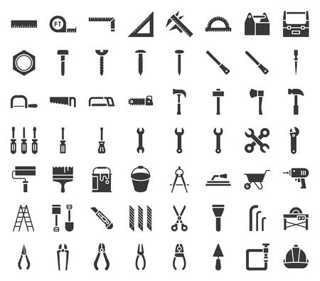 carpenter, handyman tool and equipment icon set, glyph design. Vettoriali