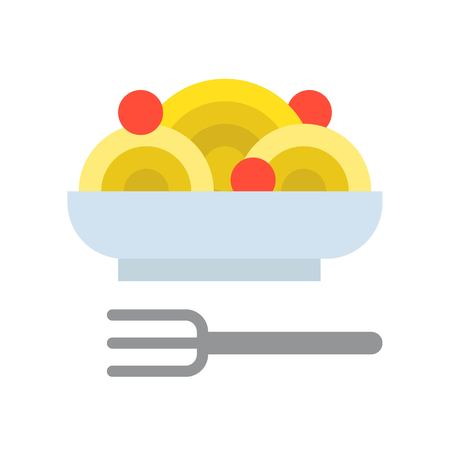 spaghetti bolognese, food and gastronomy set, flat icon. Иллюстрация