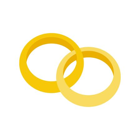 gold engagement ring, jewelry related icon, flat design. 向量圖像