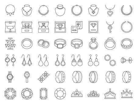 set di icone relative a diamanti, pietre preziose e gioielli, linea sottile.