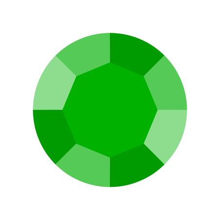 green emerald, jewelry related icon, flat design. Illustration