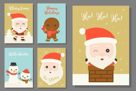 greeting card hand drawn doodle Christmas set with cute character in flat design Vectores