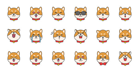 shiba inu emoticon filled outline design, vector illustration  イラスト・ベクター素材