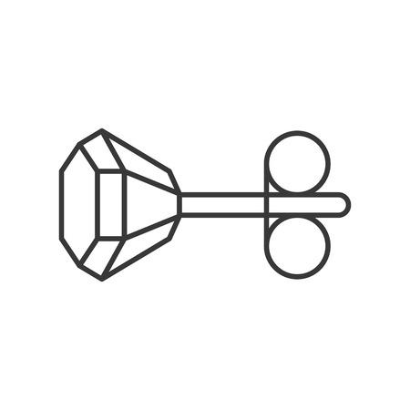 orecchino con diamanti, relativo ai gioielli, icona del contorno vettoriale.