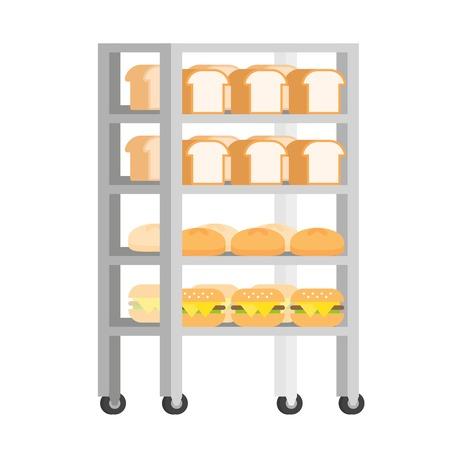 Bread rack with freshly baked bread vector Illustration flat design Ilustração
