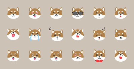 shiba inu emoticon, flat style vector illustration