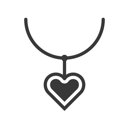 wedding heart pendant, jewelry icon, glyph style
