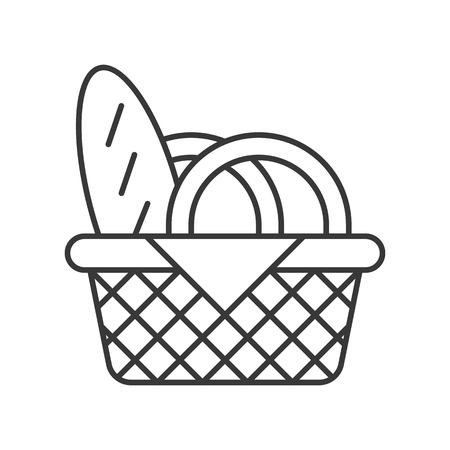 picnic basket and bread, food outline icon