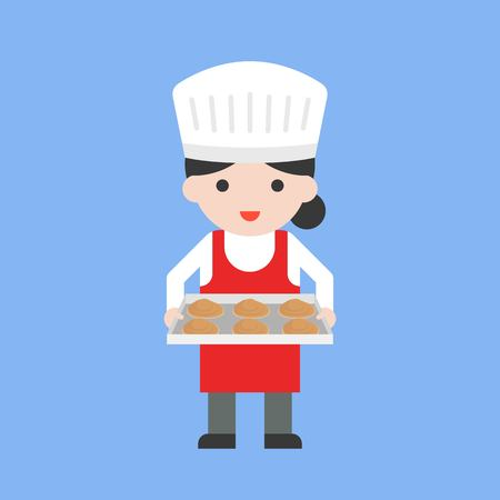 cute female pastry chef holding baking tray and fresh dough, flat design Stock Illustratie