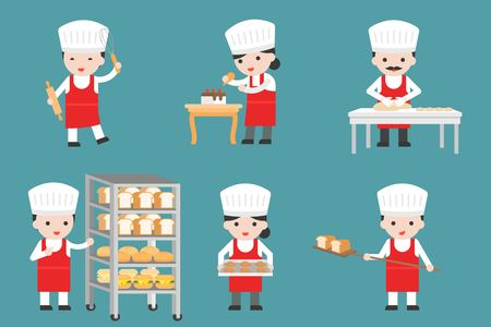 Cute pastry chef characters set with bread and cooking tools, flat design