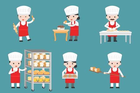 Simpatici personaggi pasticceri con pane e utensili da cucina, design piatto Vettoriali